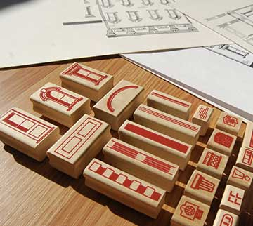 Paper stamping architecture set