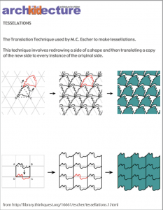 Tesselation worksheet from archKIDecture