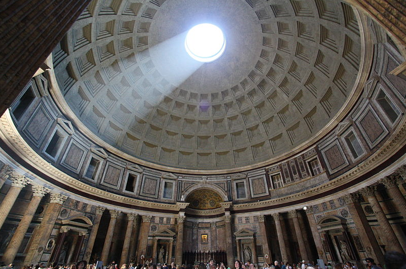 Pantheon in Rome, image from https://commons.wikimedia.org/wiki/File:Internal_Pantheon_Light.JPG