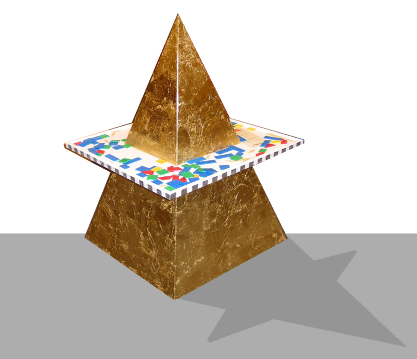 Golden pyramid module at the BuildIT! exhibit about architecture for kids