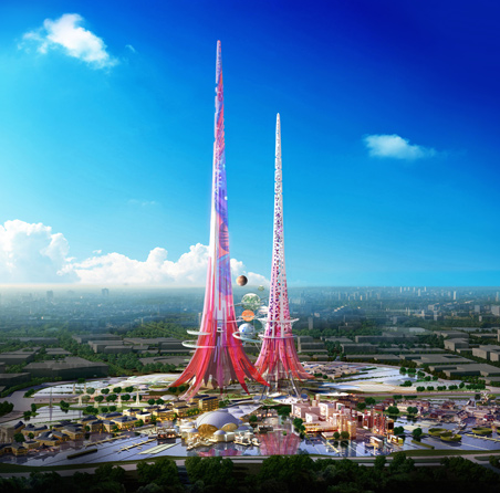 Pink Chinese Towers