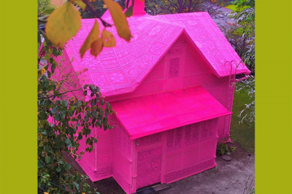 Crocheted Pink House in Swedem