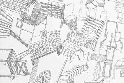 black and white drawing of furniture