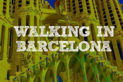 Walking in Barcelona square photo of Gaudi church