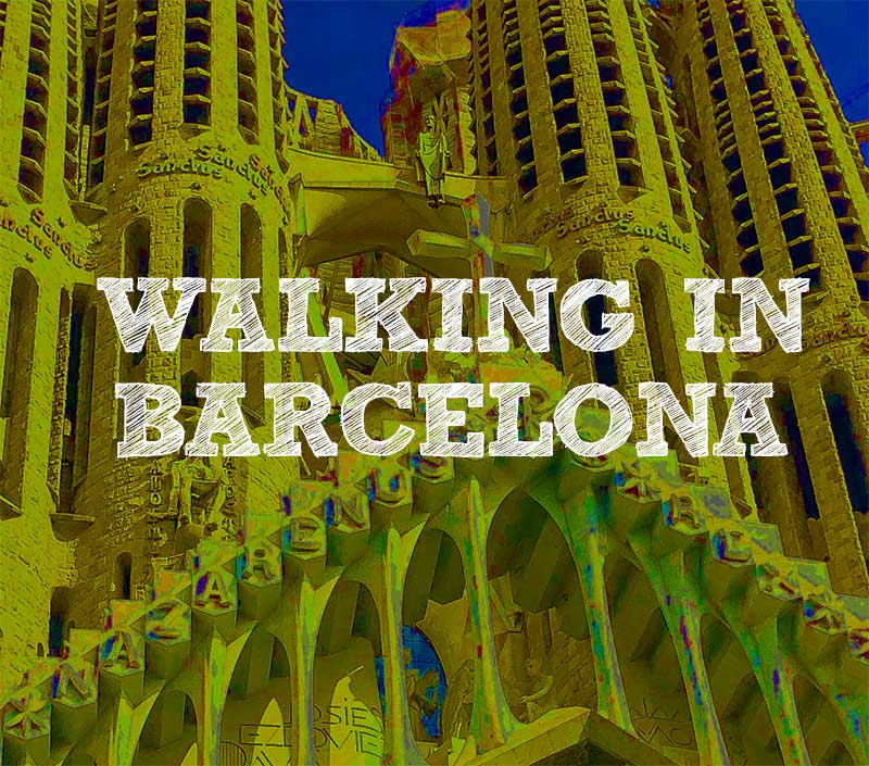 Walking in Barcelona square photo of Gaudi church
