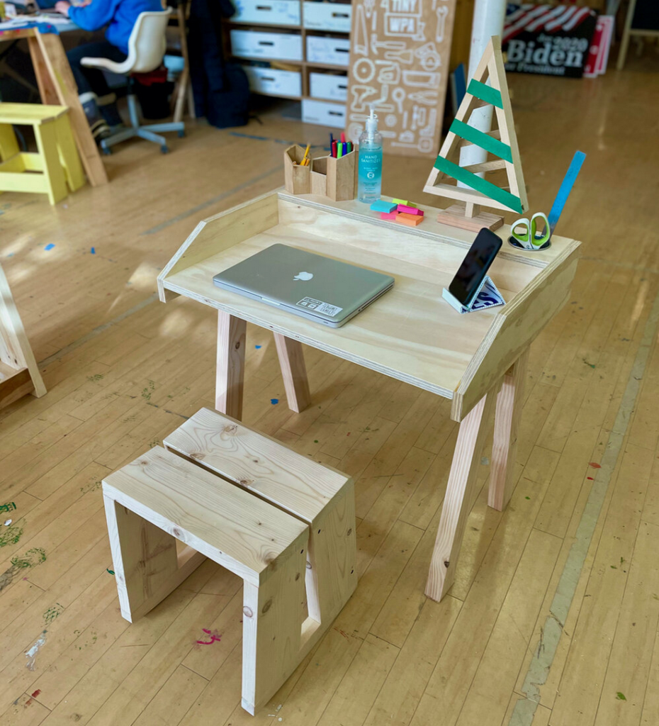 Tiny WPA desk and chair made for kids who are studying at home.