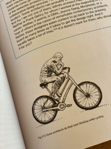 Think like an architect, person on a bike